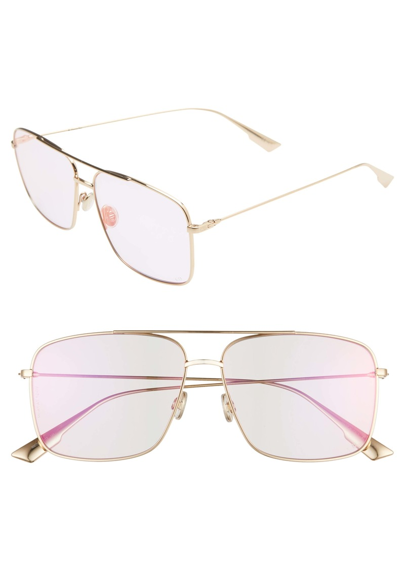 Christian Dior Dior Stello3S 57mm Square Aviator Sunglasses