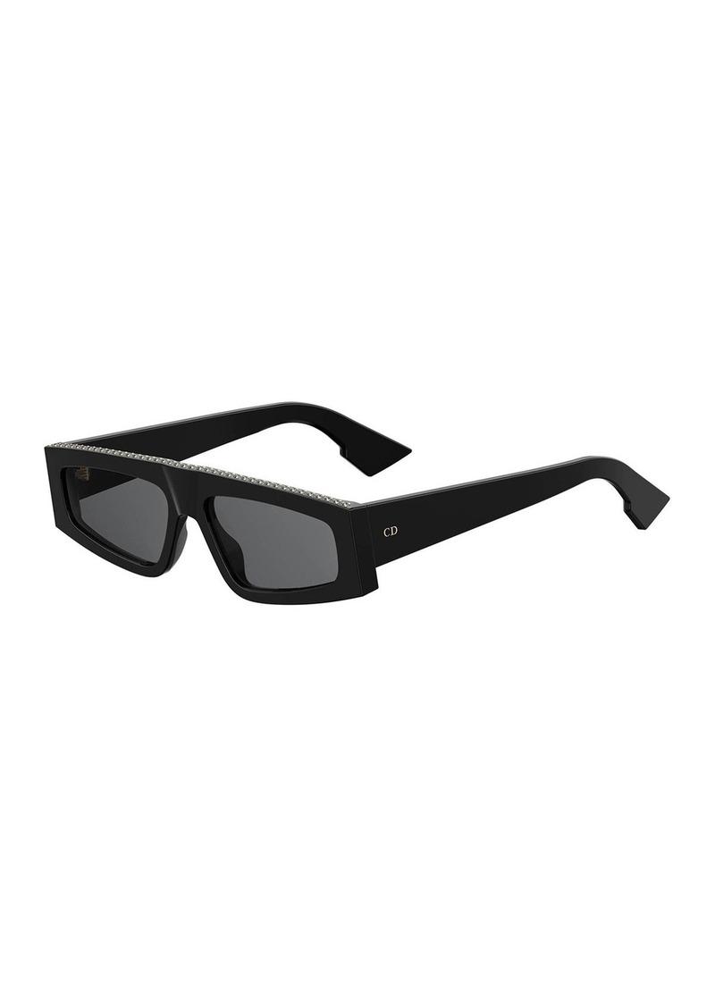 Christian Dior DiorPower Studded Acetate Rectangle Sunglasses