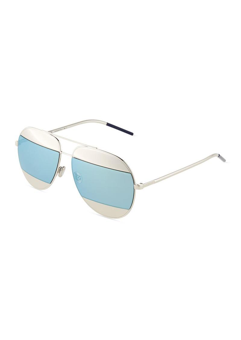 a5198e642481 Christian Dior DiorSplit Two-Tone Metallic Aviator Sunglasses Light Blue /Silver