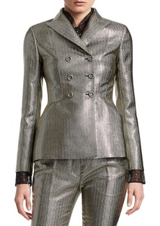 Christian Dior Lurex Herringbone Double-Breasted Bar Jacket
