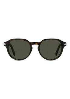 Christian Dior Men's Dior Diorblacksuit 52mm Round Sunglasses - Dark Havana / Green
