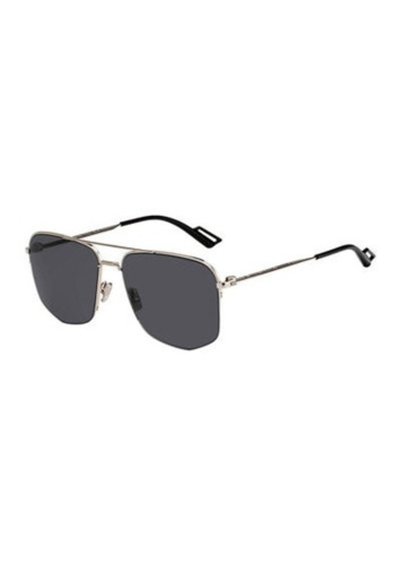 Christian Dior Men's Semi-Rimless Modern Navigator Metal Sunglasses