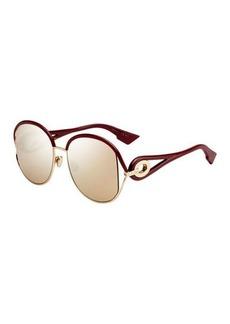 Christian Dior New Volutes Mirrored Round Sunglasses