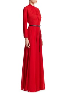 Christian Dior Silk Gown with Leather Belt
