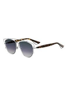 Christian Dior Technologic Cutout Aviator Sunglasses  Golden/Black