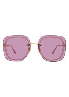 Christian Dior Women's Dior 65mm Flattop Oversize Sunglasses - Shiny Light Nickel/ Bordeaux