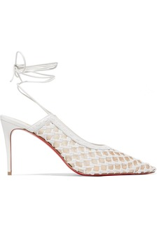 Christian Louboutin Roland Mouret Cage And Curry 85 Mesh And Woven Leather Pumps