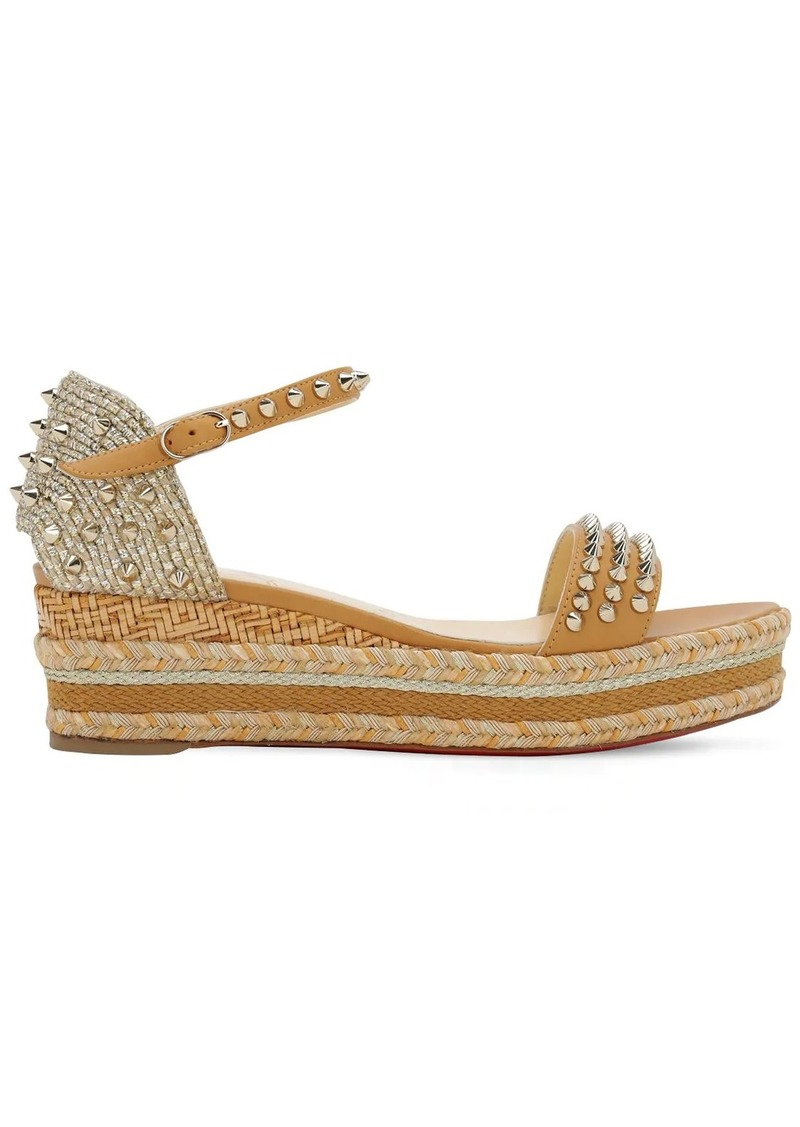 Christian Louboutin 60mm Madmonica Leather & Rope Wedges