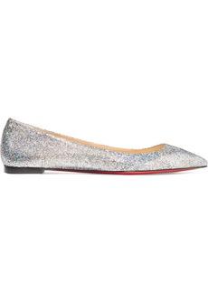 bd92f077952 Christian Louboutin Ballalla Iridescent Glittered Leather Point-toe Flats