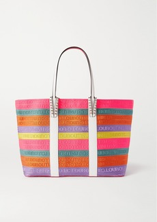 Christian Louboutin Cabata Large Studded Leather-trimmed Striped Canvas Tote