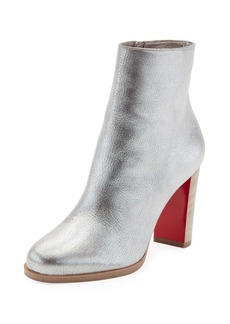 Christian Louboutin Adox Metallic Stack-Heel Red Sole Bootie