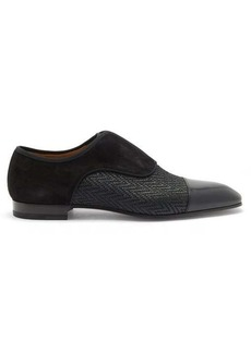 Christian Louboutin Alpha Male suede and chevron-twill Oxford shoes