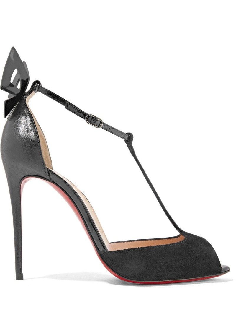 70d9c1c822c0 Christian Louboutin Aribak 100 bow-embellished leather and suede T-bar  sandals
