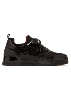 Christian Louboutin Aurelien glittered velvet and suede trainers