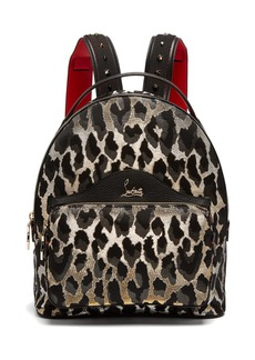 Christian Louboutin Backloubi small leopard brocade backpack