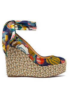 Christian Louboutin Barbaria Zeppa 120 floral satin wedge platforms