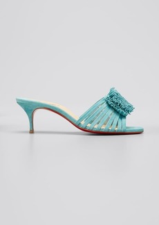 Christian Louboutin Belbrossa Pompom Red Sole Slide Sandals