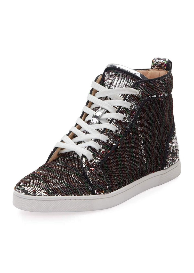 eeb265363d8 reduced christian louboutin bip bip sequined red sole high top sneaker  1ab76 039f2