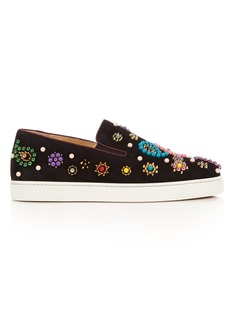 Christian Louboutin Boat Candy embellished suede trainers