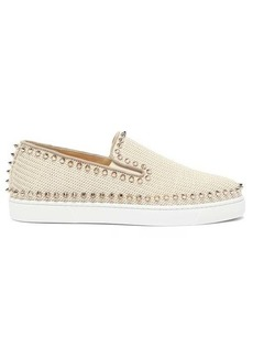 Christian Louboutin Boat spike-embellished woven slip-on trainers