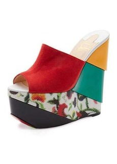 Christian Louboutin Carnababe Colorblock 150mm Wedge Red Sole Sandal