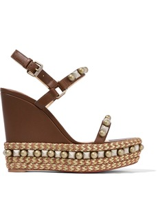 Christian Louboutin Cataconico 120 embellished leather wedge sandals