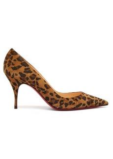 Christian Louboutin Clare 80 leopard-print suede pumps