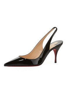 Christian Louboutin Clare Sling 80mm Leather Red Sole Pumps