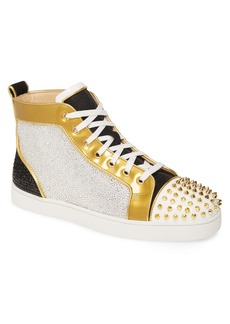 Christian Louboutin Crystal Embellished Glitter High Top Sneaker (Men) (Nordstrom Exclusive)