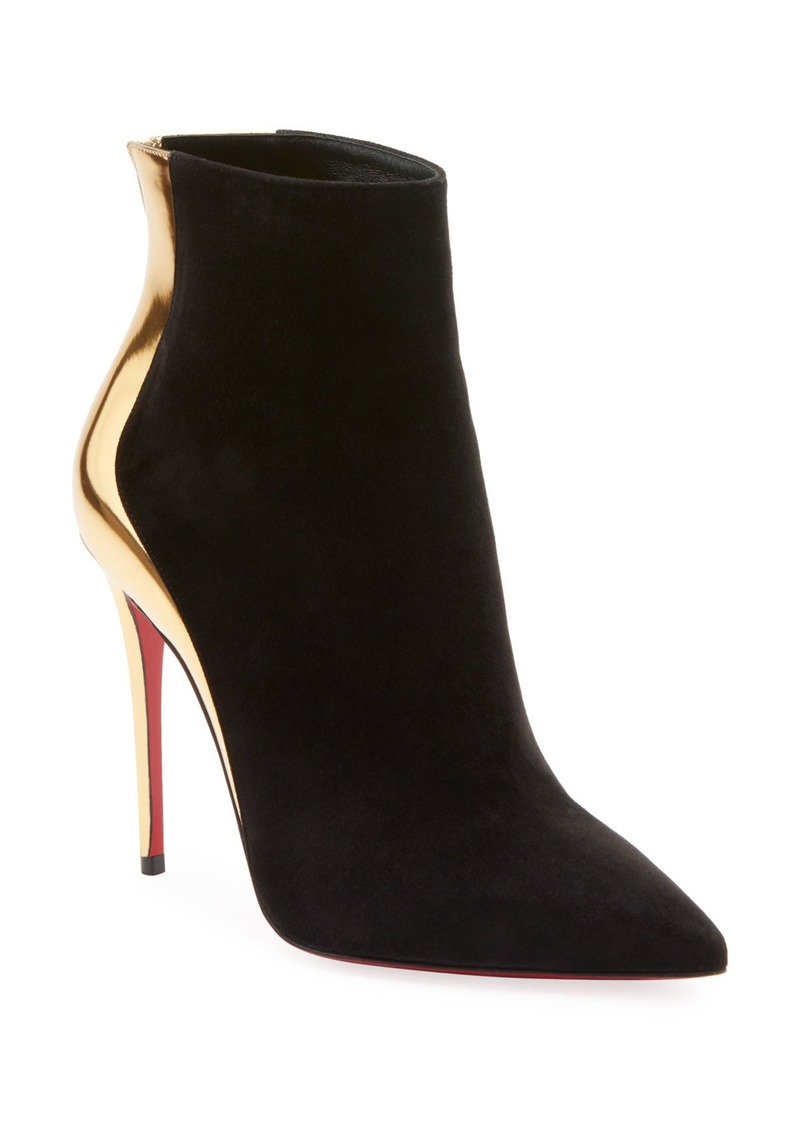 brand new 31875 8ed6e Delicotte Suede/Metallic Red Sole Booties