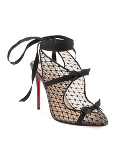Christian Louboutin Directoire Fishnet Red Sole Pumps with Bows