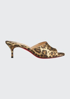 Christian Louboutin East Leopard-Print Red Sole Mule Sandals