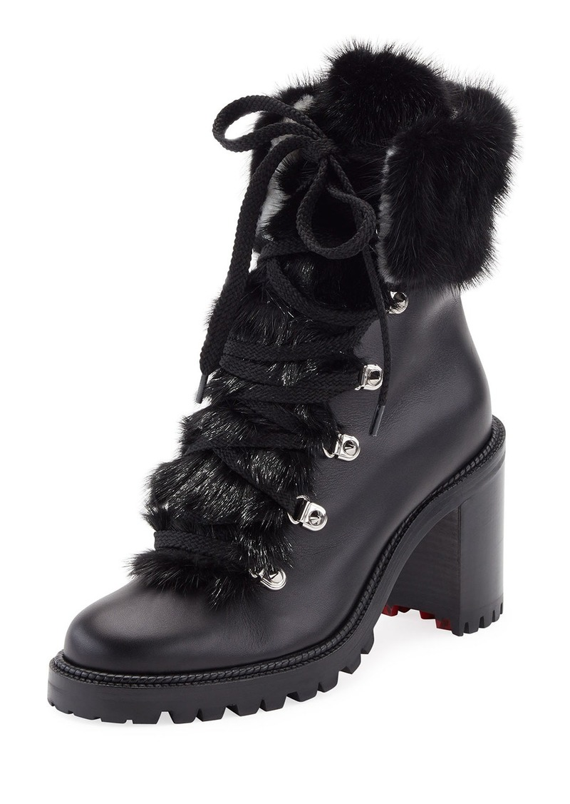 competitive price 078a6 3f5b3 Christian Louboutin Christian Louboutin Fanny Leather Fur-Trim Red Sole  Combat Boot | Shoes