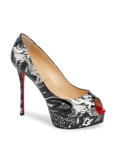 Christian Louboutin Fetish Graffiti Peep Toe Platform Pump (Women)