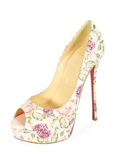 Christian Louboutin Fetish Peep-Toe Platform Floral Snakeskin Red Sole Pump