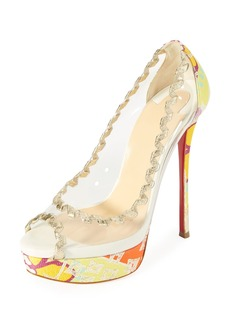 Christian Louboutin Fictoire Transparent Platform Red Sole Pump