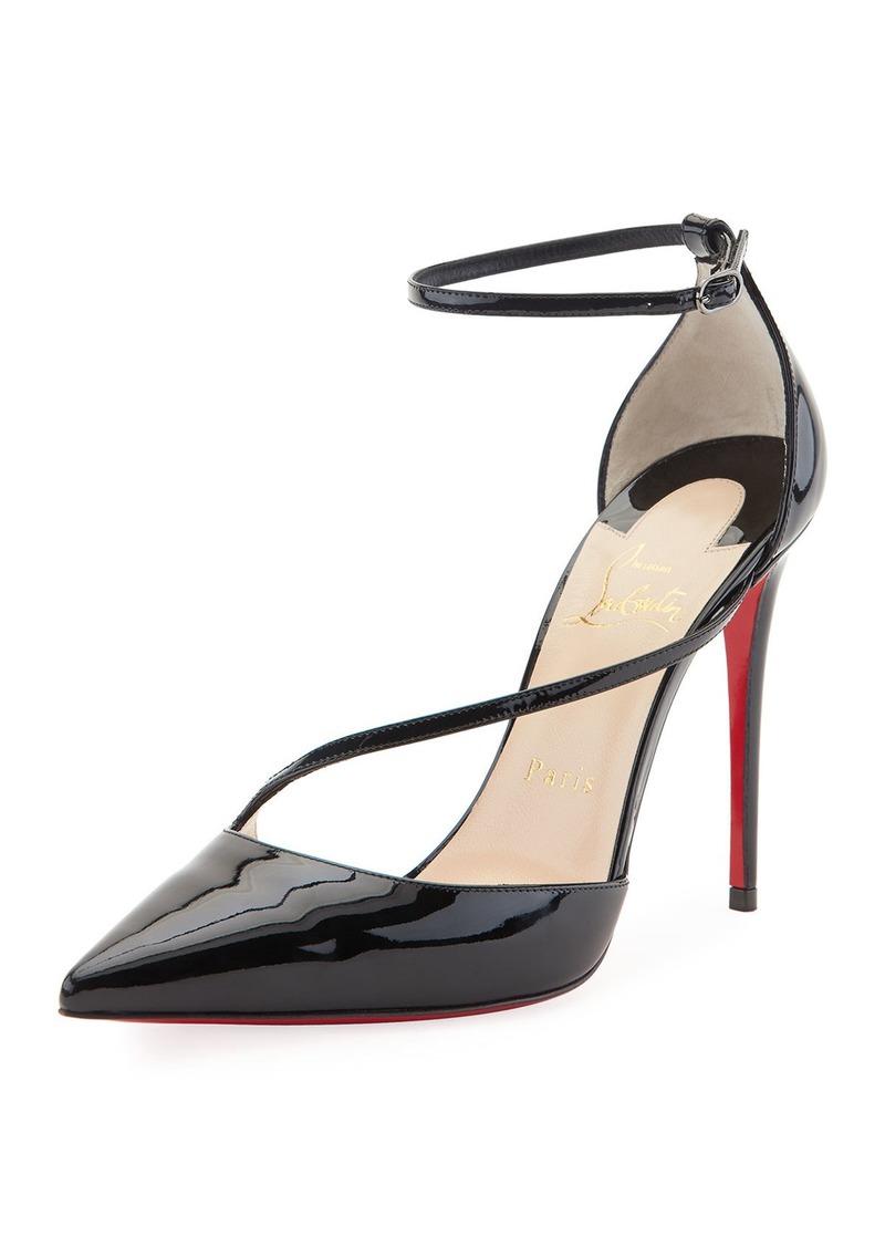 sale retailer 3c04e 9c481 Christian Louboutin Christian Louboutin Fliketta Patent 100mm Red Sole  Ankle-Wrap Pump | Shoes
