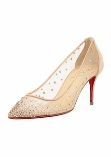 Christian Louboutin Follies 70mm Crystal Mesh Red Sole Pump