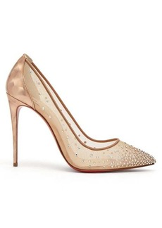 Christian Louboutin Follies Strass 100 holographic-heel mesh pumps