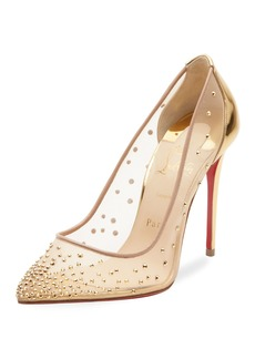 Christian Louboutin Follies Strass Crystal Mesh Red Sole Pumps