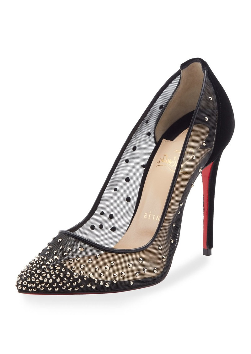 Follies Strass Embellished Red Sole Pump