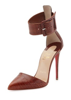 Christian Louboutin Harler Snake-Embossed Leather Red Sole Pump
