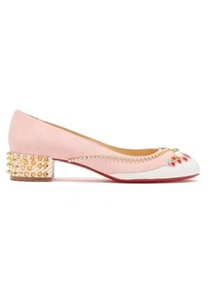 Christian Louboutin Hippipump crystal appliqué suede ballet flats