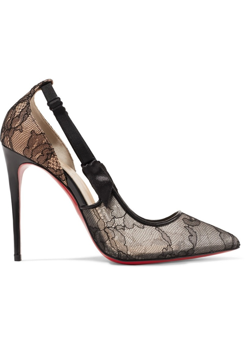 cda75741bd6 Christian Louboutin Hot Jeanbi 100 satin and patent leather-trimmed lace  pumps