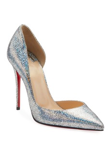 Christian Louboutin Iriza Glitter Half d'Orsay Red Sole Pumps