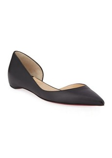 Christian Louboutin Iriza Half-D'Orsay Red Sole Flats
