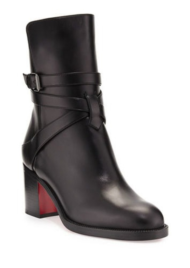 Christian Louboutin Karistrap Leather 70mm Red Sole Ankle Boot