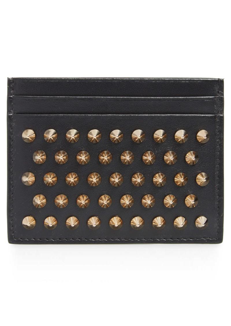 Christian Louboutin 'Kios' Spiked Calfskin Leather Card Case