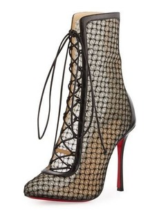 Christian Louboutin Lace 100mm Lace-Up Red Sole Bootie