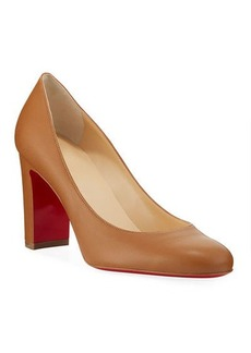 Christian Louboutin Lady Gena Block-Heel Leather Pumps